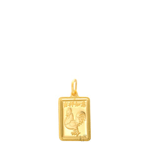 24K Mini Rectangle Rooster Pendant