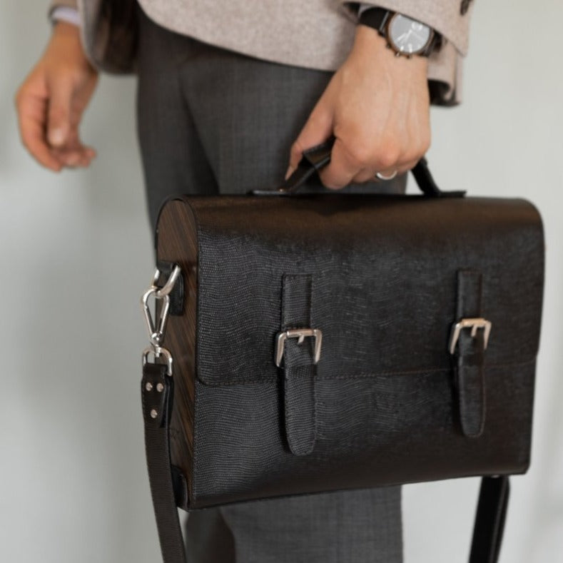 THUNDER Black Saffiano - Blackwoodbags