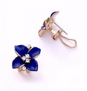 Navy Blue Floral Stud Earrings