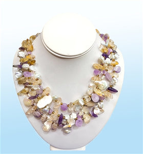 Multi-Stone Layer Necklace, 18 inches