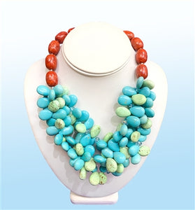Turquoise Cluster Statement Necklace, 18 inches