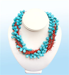 Turquoise Torsade Statement Necklace, 18 inches