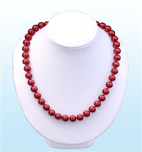 Load image into Gallery viewer, Ruby Red Pearl Statement Necklace, 18 inches