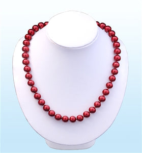 Ruby Red Pearl Statement Necklace, 18 inches