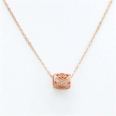 10mmx9mm Rose Gold Filigree Pendant Necklace