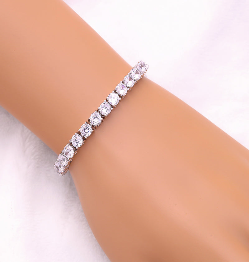 Platinum Plated Round-cut Tennis Bracelet, 7 inches