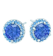 Load image into Gallery viewer, Tanzanite Blue CZ Halo Stud, 12mm