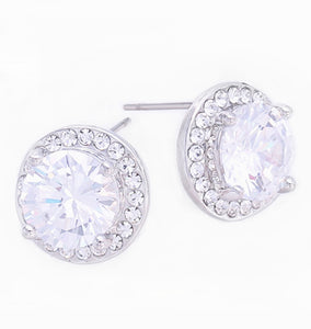 Clear Crystal CZ Halo Stud Earrings, 11mm