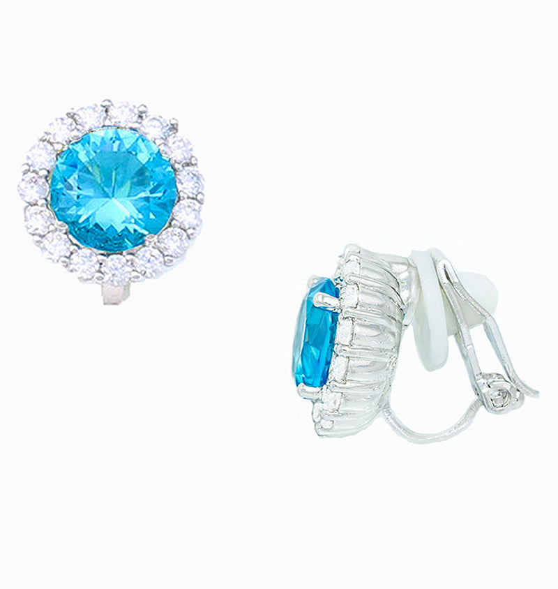 White Gold Plated Halo Blue Cubic Zirconia Clip On Earrings, 12 mm