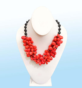 Coral Red Statement Necklace, 20 inches