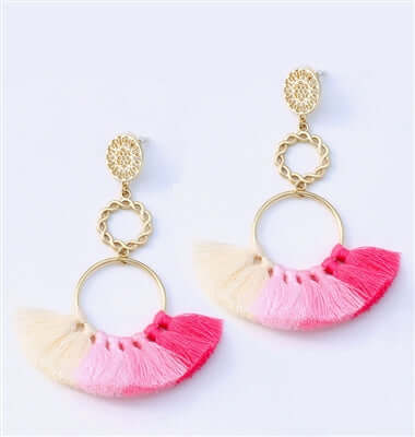 Gradient Grace Pink Tassel Gold Dangle Earrings, 3.90 inches