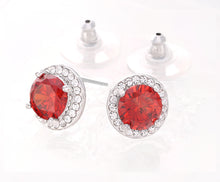 Load image into Gallery viewer, Clear Crystal CZ Halo Stud Earrings, 11mm