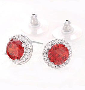 Vibrant Garnet Red Cubic Zirconia Halo Stud Earrings, 11mm