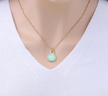 Load image into Gallery viewer, Green Opal Teardrop Shaped Gold Plated Pendant Necklace