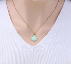 Green Opal Teardrop Shaped Gold Plated Pendant Necklace