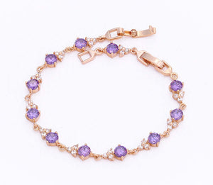 Amethyst Purple Crystal Tennis Bracelet, 7 inches