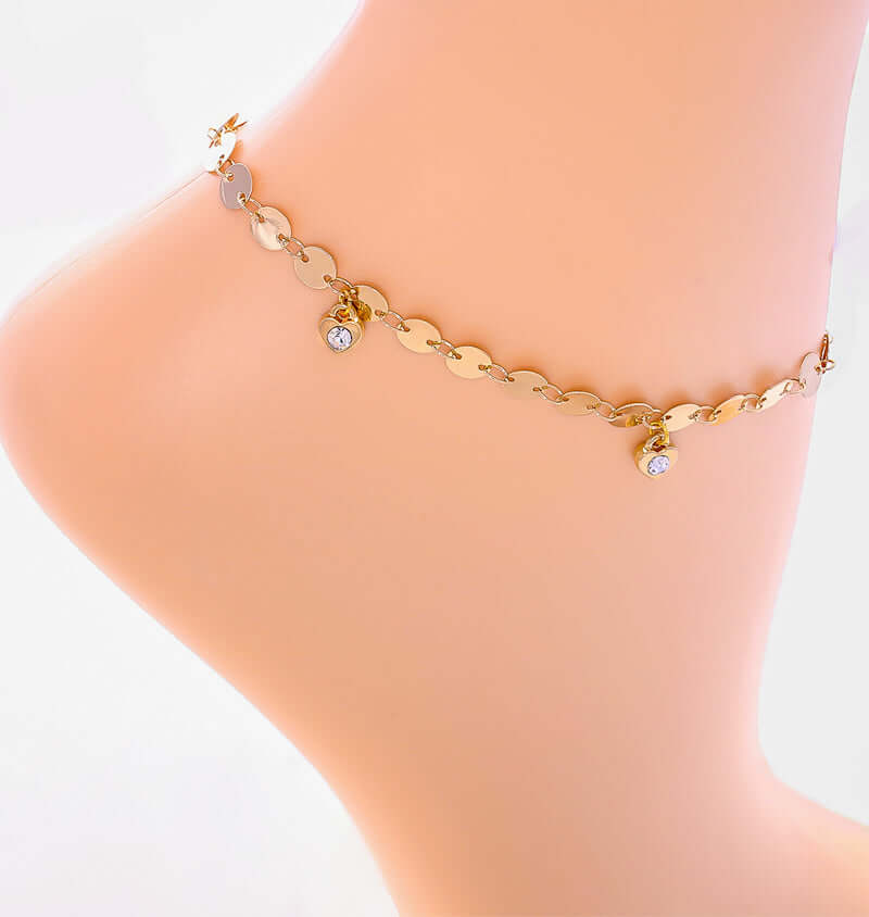 Heart Shaped Charm Gold Chain Bracelet Anklet, 7 1/2 inches