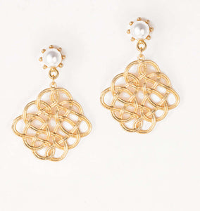 Eternal Pearl Statement Gold Drop Earrings