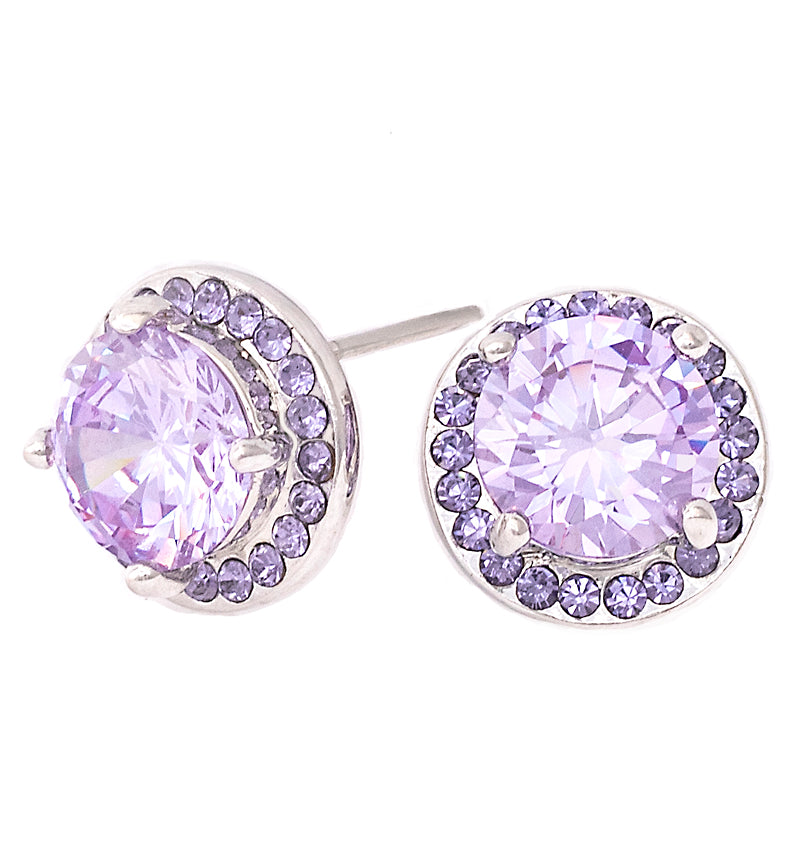Radiant Lavender CZ Halo Stud, 12mm