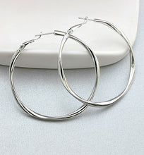 Load image into Gallery viewer, Platinum Hoop Earrings, 49mm