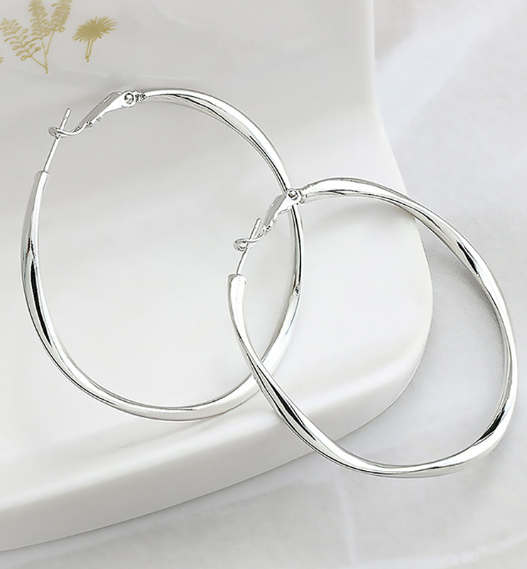 Platinum Hoop Earrings, 49mm