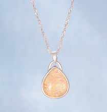 Load image into Gallery viewer, Teardrop Shape Opal Silver Plated Pendant Necklace