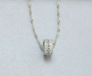 6mmx10mm Silver Tone Pendant Ring Necklace