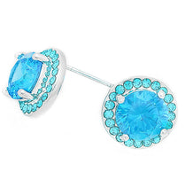 Load image into Gallery viewer, Ocean Aqua CZ Halo Stud, 12mm