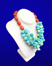 Load image into Gallery viewer, Turquoise Cluster Statement Necklace, 18 inches