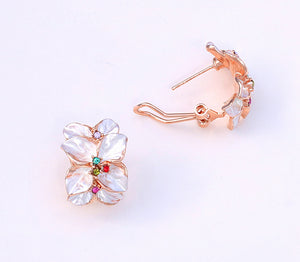 White Flower Rainbow Stud Earrings