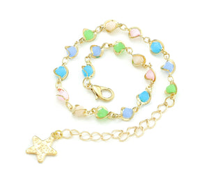 Colorful Beads Gold Chain Bracelet, 8 inches