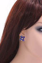 Load image into Gallery viewer, Navy Blue Floral Stud Earrings