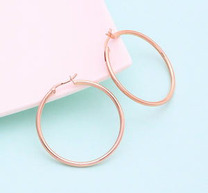Rose Gold Hoop Earrings, 40mm