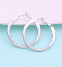 Load image into Gallery viewer, White Gold Hoop Earrings, 40mm