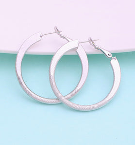 White Gold Hoop Earrings, 40mm