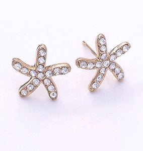 Starfish Shaped Radiant Crystal Earrings, 15mm