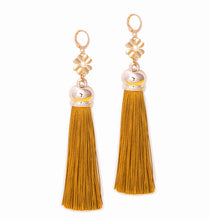 Load image into Gallery viewer, Yellow Tassel Dangle Earrings, 4.2 inches