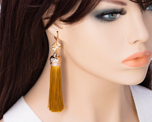 Yellow Tassel Dangle Earrings, 4.2 inches