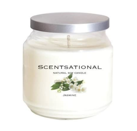 JASMINE SOY CANDLE WITH UP TO 75 HOUR BURN TIME, LARGE JAR