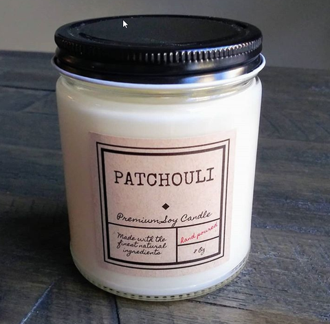 PATCHOULI SOY CANDLE WITH UP TO 75 HOUR BURN TIME, LARGE JAR