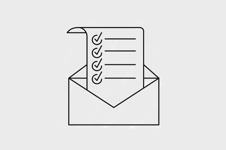 A mail envelope with a checklist