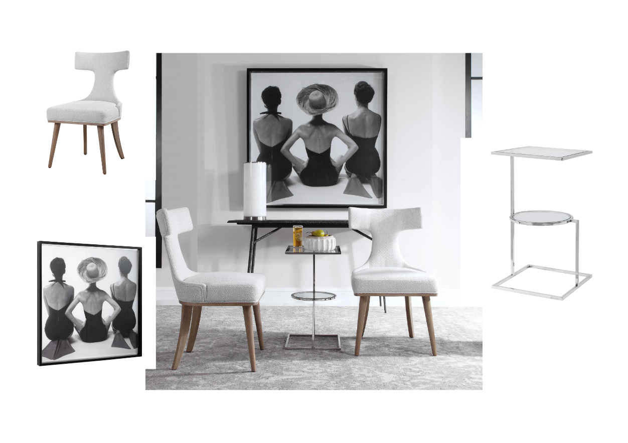 a minimalistic living room with two white chairs and an accent table