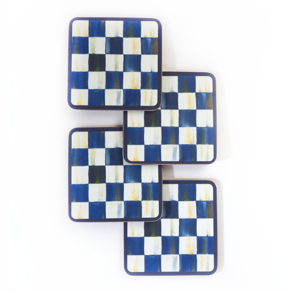 Royal Check Cork Back Coasters - Set of 4