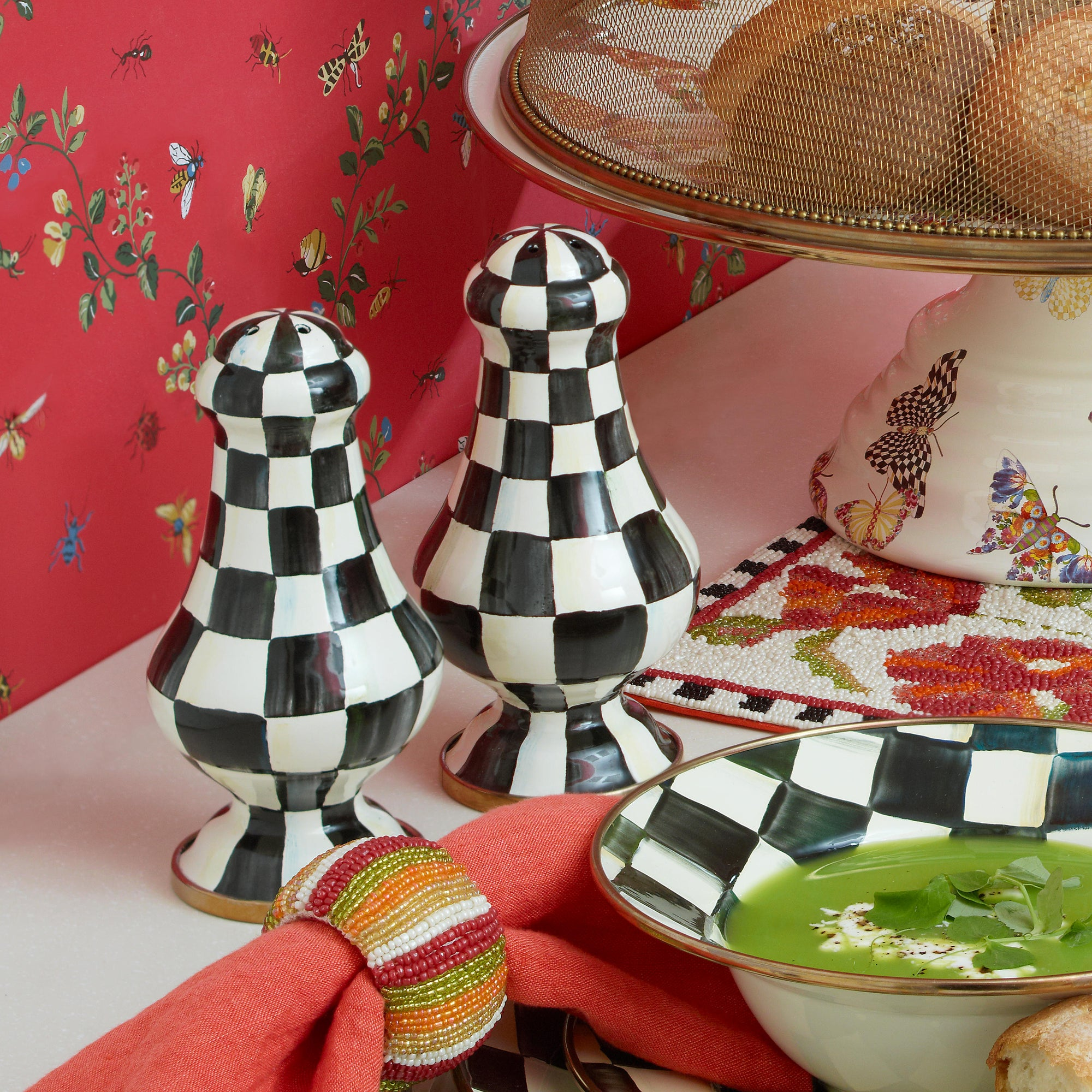 Courtly Check Enamel Large Salt & Pepper Shakers