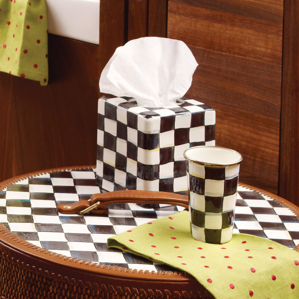 Courtly Check Enamel Boutique Tissue Box Cover
