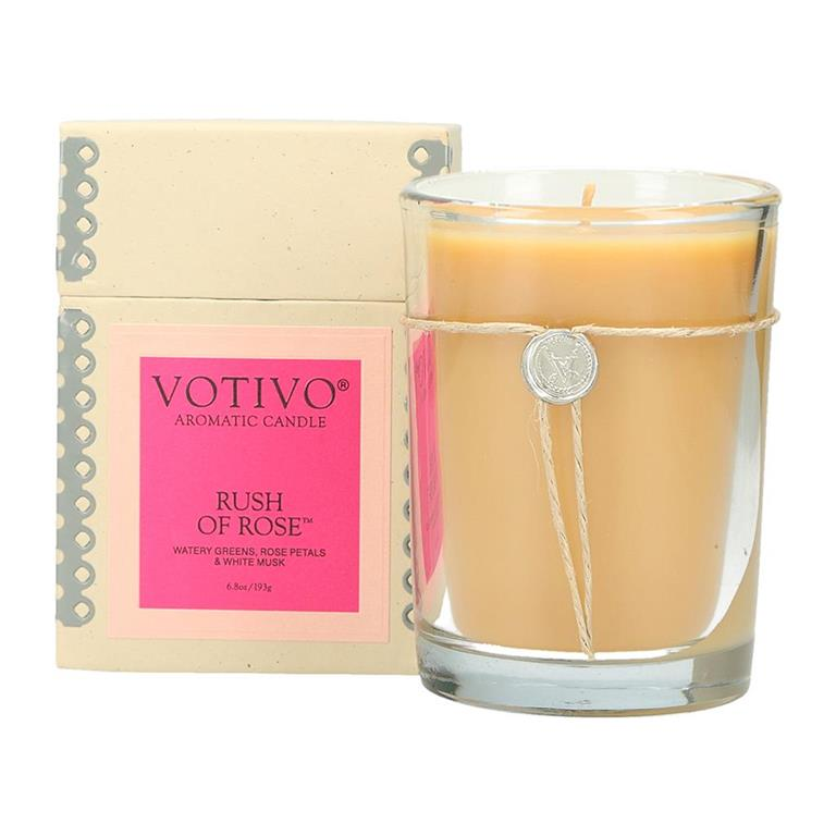 6.8 oz Aromatic Candle Rush of Rose