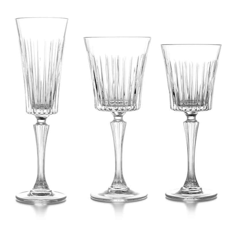 Set of glassware including, red wine, champagne flute, and white wine glasses.