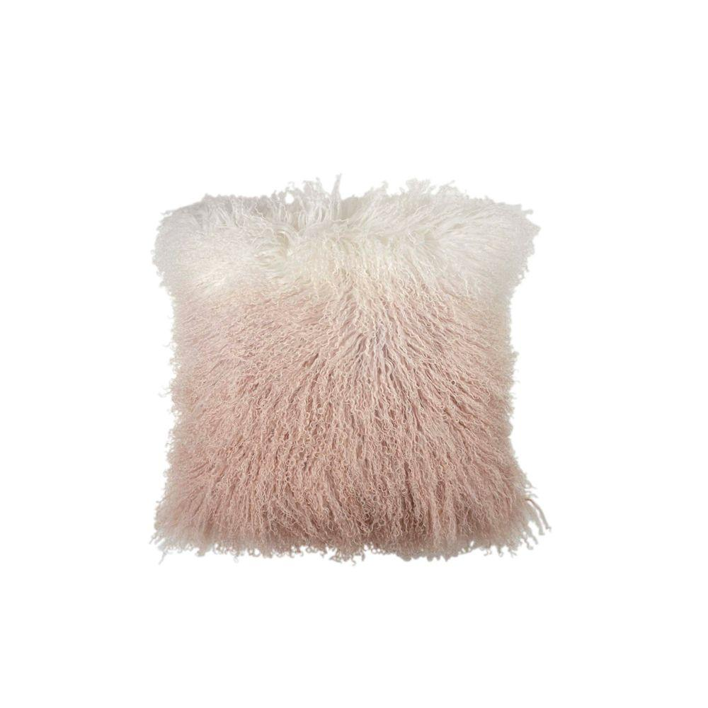Dip Dye Curly Sheepskin Pillow - Blush