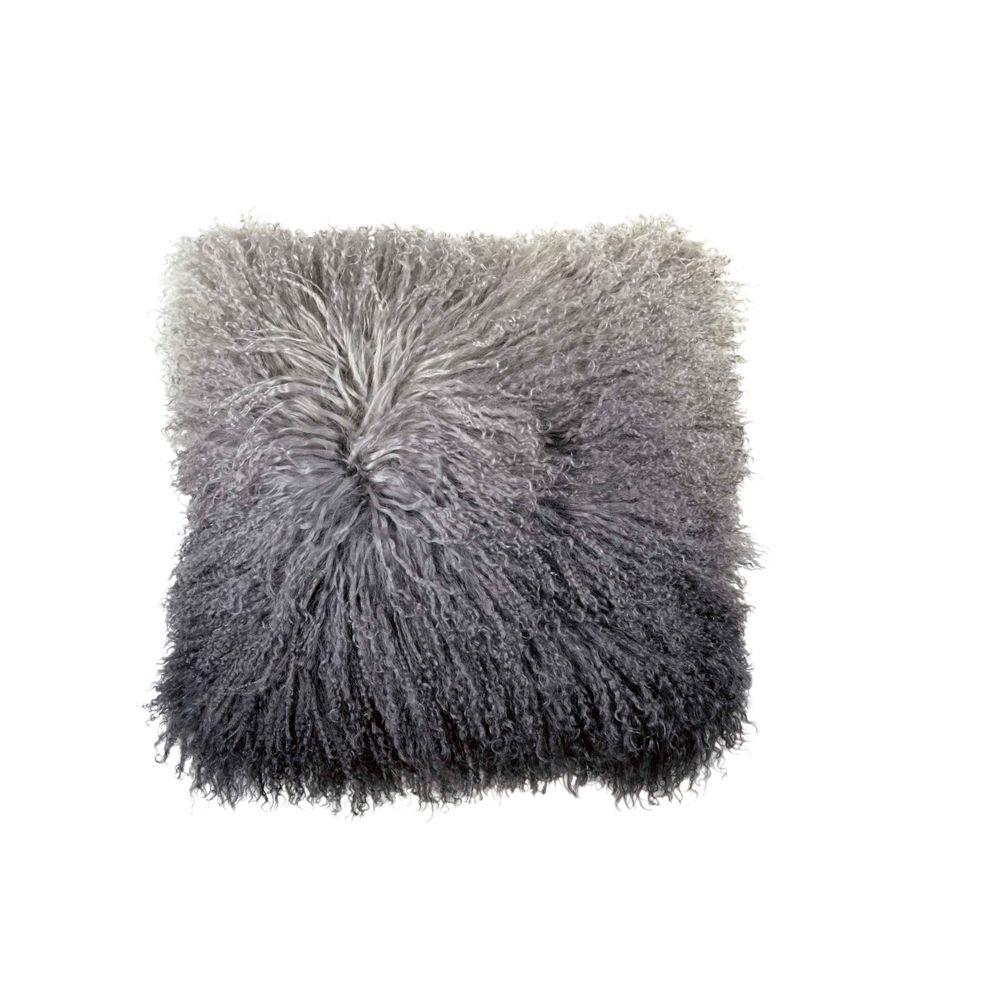 Dip Dye Curly Sheepskin Pillow - Charcoal