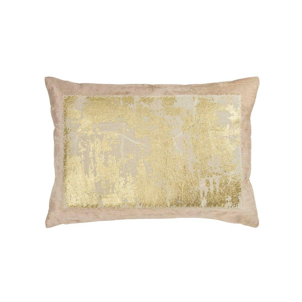 Distressed Metallic Lace Pillow - Blush / Gold